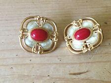 Pair Vintage Monet Gold Tone Red & Cream Enamel Clip On Earrings Signed