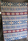 Vintage Kashmir Wool Chain Stitched Geometric Striped Wall Rug & Cotton Backing