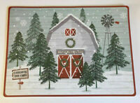 Christmas Barn Placemats Set of 4 Vinyl Foam Back Country Winter Snowflake