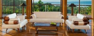 114 W Prudenzia Babino sofa A white grade leather palm wood details