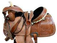 15 16 HORSE TRAIL SADDLE WESTERN PLEASURE BARREL RACING HAND TOOLED LEATHER TACK