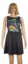 KENSIE Dress Size 6 Black Color Swirl Print Sleeveless Satin Fit Flare Skirt NEW