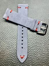 20mm GRAY Vintage Suede Leather watch band strap RED stitch - Fast Shipping