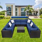 11 Pcs All-weather Furniture Sectional Wicker Sofa Set W/ Cushions Patio Garden