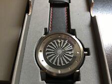 Zinvo Blade 44mm Black Stainless & Genuine Leather Strap Men's Watch NEW