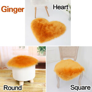 Faux Sheepskin Chair Covers Fluffy Carpet Hairy Wool Seat Pad Floor Polygon Soft