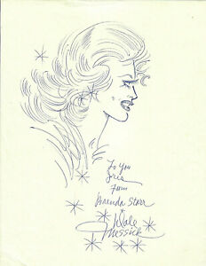 Original Pen-and-Ink Sketch-Brenda Starr in Profile-Signed by Dale Messick-c1993
