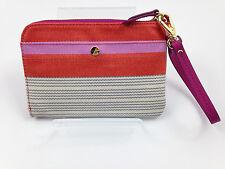 NWT FOSSIL Key Per Clutch Wallet Wristlet - Pink Stripe -  Free Shipping