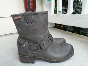 Pikolinos gray leather zip sider womens ankle boots sz 38 US 8