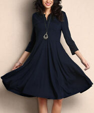 Navy Blue Dress Size 8 With Chest Pockets LadiesFit And Flare With Button Front