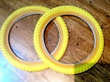 PAIR OF NEW COMP 3 STYLE TREAD 16 x 1.75  BMX TYRES Yellow OLD SCHOOL UK SELLER