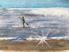 ACEO Original Miniature Painting Ocean Paddleboard Beach Coastal Cape Cod Artist