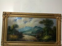 ANTIQUE PAINTING 1800'S COUNTRY ROAD FRAMED IN GLASS ORIGINAL FRAME VINTAGE