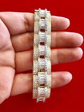 "Men's 14K Yellow Gold Finish BAGUETTE AND ROUND STONES FLUTE DESIGN 8.5""Bracelet"