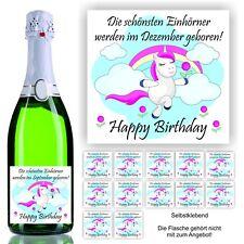 Aufkleber Sektflasche Geburtstag Geschenk Spaß Fest Monat Einhorn Unicorn