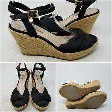 American Eagle Black Ankle Buckle Espadrilles Wedge Heel Womens Size 6
