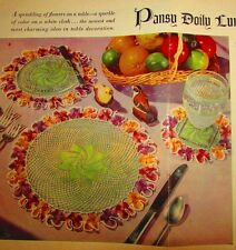 Vintage 1949 Crochet PATTERN for Pansy Doily Luncheon Set