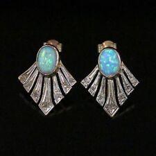 Art deco opale diamant fan boucles d'oreilles or 9CT