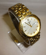 Men's Citizen Day Date White Dial Gold Tone Watch New Battery 1102-K12037 CK