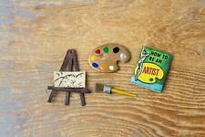 Vintage Dollhouse Artist's Lot - Paint Brush, Palette, Book, Painting on Easel