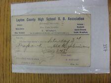 County High School 30/10/1934 Leyton viejo chicos Asociación: tarjeta de selección V Viejo