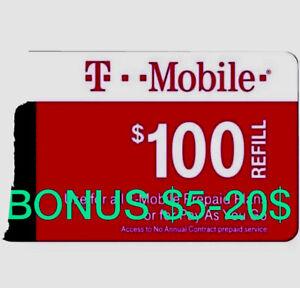 T-Mobile Prepaid Refill Card $100 (DIRECT REFILL)  Comes With Bonus $5-20$