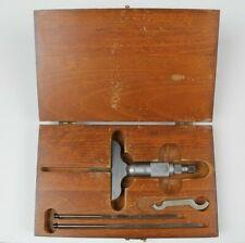 Vintage Starrett 449 0 3 Blade Depth Micrometer Gage With Box