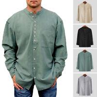 Men Linen Shirt Long Sleeve Casual Grandad Collarless Blouse Top Autumn Clothing