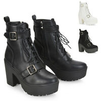 Womens Lace Up Ankle Boots Ladies Cleated Platform Sole Retro Goth Combat 3-8