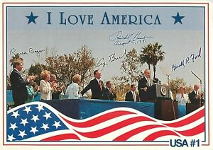 "Presidents at Nixon Library Dedication Big Postcard 5""x7"" Reagan Bush Ford 1990"