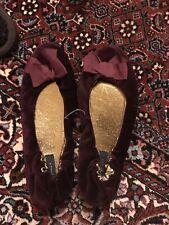 New j CREW Velvet wine Ballet Bow Slipper Flats 6 x Small
