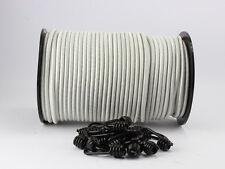 6mm Corde D'Extension Blanc 20m + 20 Crochets à Spirale Élastique