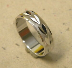 Men's Rhodium Plated Fashion Ring Band Size 10.75 Unisex 6mm Wide White Metal
