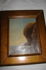 OLD PAINTING SEASCAPE WITH ROCKS OLD RARE UNSIGNED