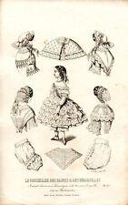 Stampa antica di moda ABITO per BAMBINA 1857 Old Print Fashion Engraving