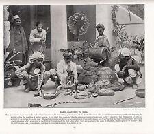 1897 impresión VICTORIANO ~ ~ India encantadores de serpiente Cobras cestas de instrumentos musicales