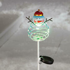 Solar Powered Lighted Frosty The Snowman Christmas Yard Pathway Stake