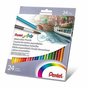 Pentel Arts Watercolour Pencil Set - 24 Assorted Colours
