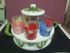 8 BOSCUL PEANUT BUTTER GLASSES IN FABULOUS MID-CENTURY CADDY/CARRIER c 1950S