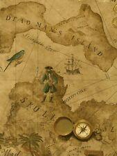 Pirate / Pirates Treasure Chest Map on Golden Brown Sure Strip Wallpaper BT2816