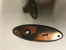 Antique Vintage Arts & Crafts Door Hardware Knob Back Plate Keyhole