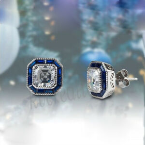 Sapphire Asscher Stud Earring 2.36 Ct Off White Push Back 925 Sterling Silver