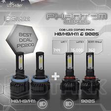 H11 9005 4PCS LED Total 144W 16000LM Light Combo Headlight High 6000K White Kit