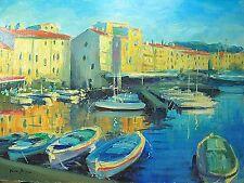 "Painting of French Riviera Saint Tropez American Artist Nino Pippa 12""X16"""