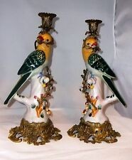 "Vintage Metal & Ceramic Parrot Pair of Candle Holders Figurines 14.5"" MINT!"