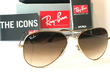 RAY-BAN AVIATOR GRADIENT BROWN LENS GOLD FRAME RAYBAN RB3025 SIZE 58 SUNGLASSES