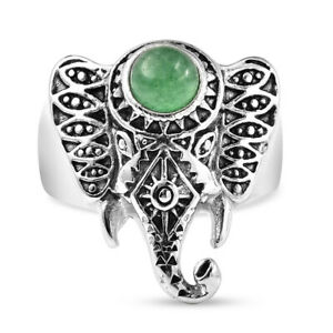 0.90 ctw Green Aventurine Elephant Head Ring in Stainless Steel