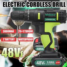 Electric Cordless Drill Driver Kit LED Light 25+1 Torque Adjustment 2 Batteries