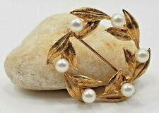 14KT Yellow Gold Pin/Brooch  with 6 Cultured Akoya Pearls Vintage