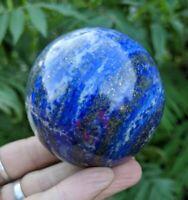 60mm LAPIS LAZULI w PYRITE Healing Sphere Crystal Stone Reiki Charged 12.4oz L1